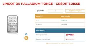 Lingot et cours d'un lingot de palladium de 1 once chez Or.fr