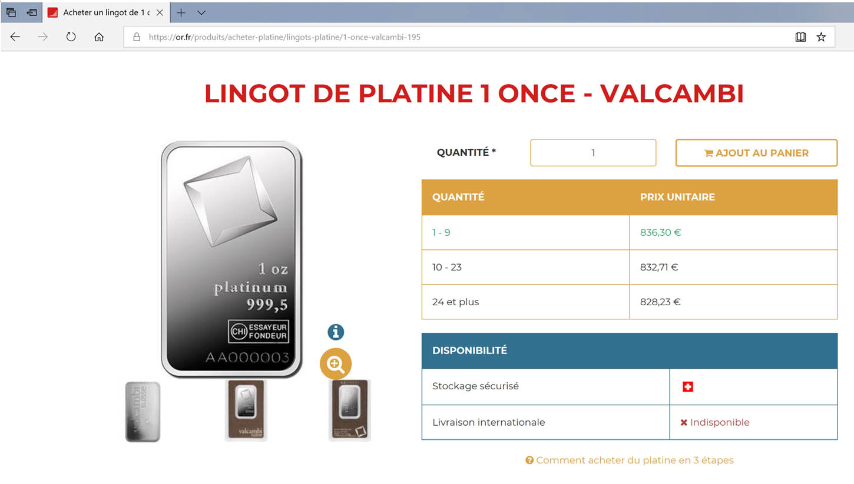 Or.fr propose à la vente au 31/07/2019 des lingots de platine au cours de 836,30€